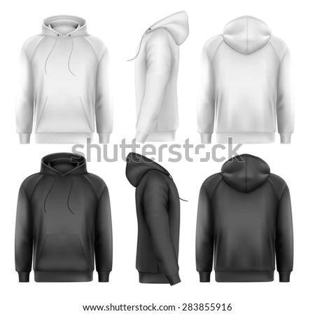 Set of black and white male hoodies with sample text space.  - stock photo