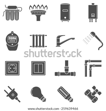set of black and white silhouette icons of home communications supply lines - stock photo