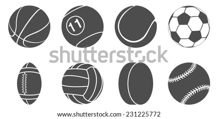set of black and white silhouette sport items icons - stock photo