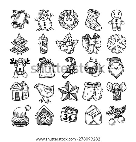 Set of black and white sketch drawing christmas doodle icons, raster version - stock photo