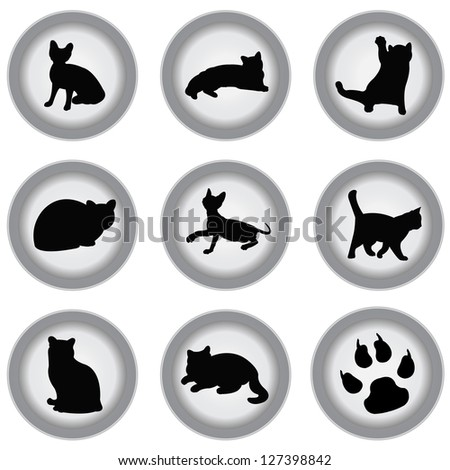 Set Of Black Cat on Gray Icons Isolated on White Background - stock photo
