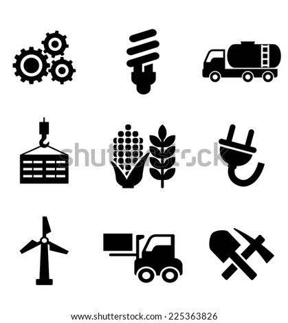 Set of black energy and industry icons depicting machinery, electricity, mining, oil, wind turbine, plug, forklift, agriculture and construction - stock photo
