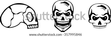 Set of black graphic skulls