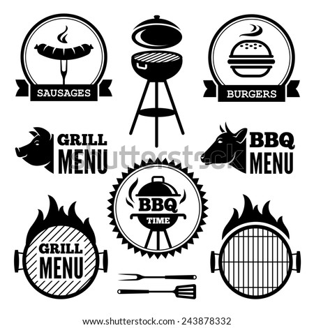 Set of black grill and BBQ symbols and labels - stock photo