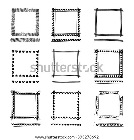 Set of Black Grunge ink Frames. Abstract artistic hand painted square frames. Border Collection for your Design