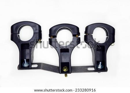 Set of black holders for three sat lnb. - stock photo