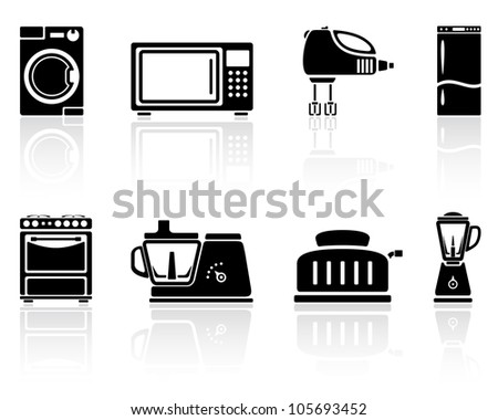 Set of black home appliances icons, illustration. - stock photo