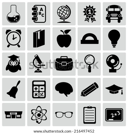 Set of black icons on white background of Education