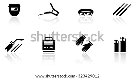 set of black isolated welding equipment icons - stock photo