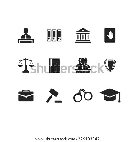 Set of black law and justice icons with a Judge briefcase  book  hammer  jurors handcuffs scales  hat  lawyer  court  building icon police oath - stock photo