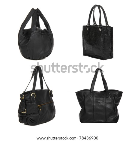 set of black leather female bags isolated on white - stock photo