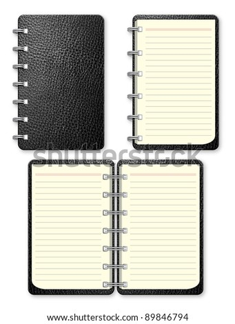 Set of Black leather notebook on white background