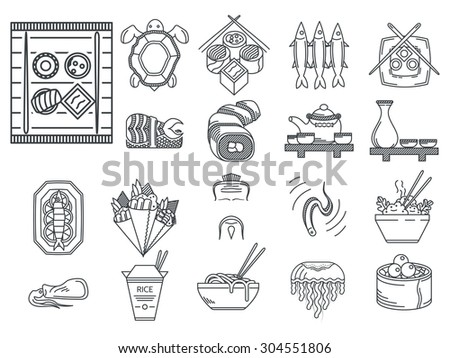 Set of black line icons for japanese seafood menu on white background. - stock photo