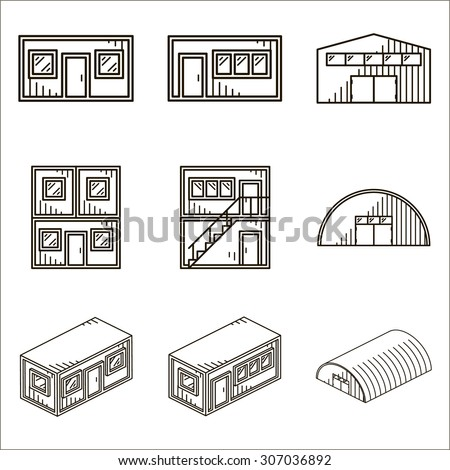 Set of black line icons for modular buildings on white background. - stock photo