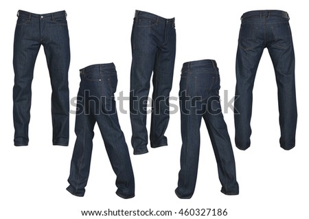 set of black male jeans isolated on white