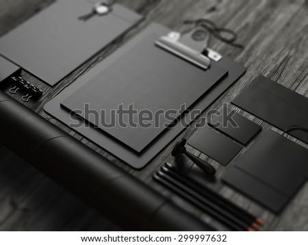 Set of black mockup elements . 3d render - stock photo