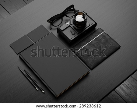 Set of black mockup on the table. 3d render - stock photo