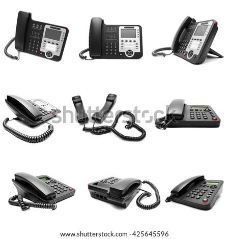 Set of black office phone isolated on white background - stock photo