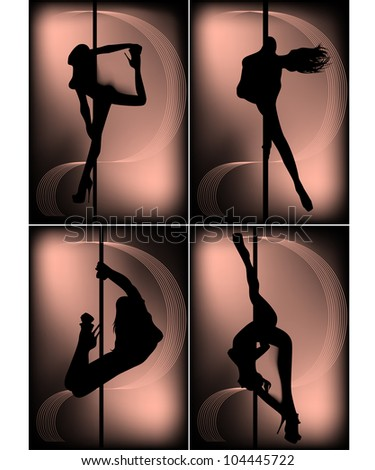 set of black silhouettes of dancing girls striptease - stock photo