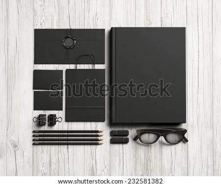 Set of black stationery elements - stock photo
