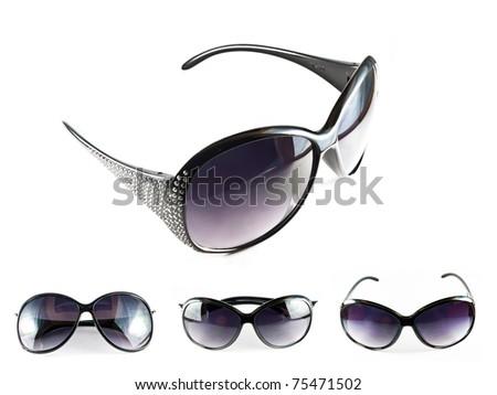 Set of black sunglasses isolated on the white background - stock photo