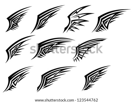 Set of black tribal wing tattoos isolated on white background, such a logo template. Vector version also available in gallery - stock photo