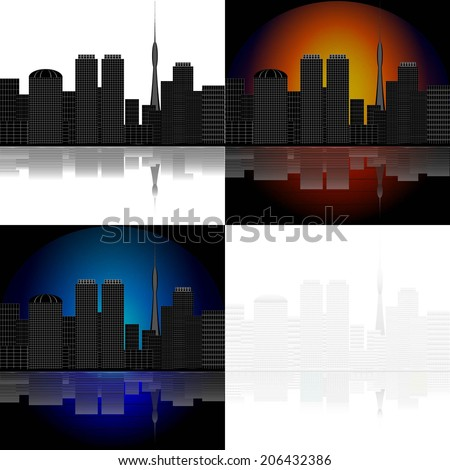 set of black white abstract city with reflection. raster