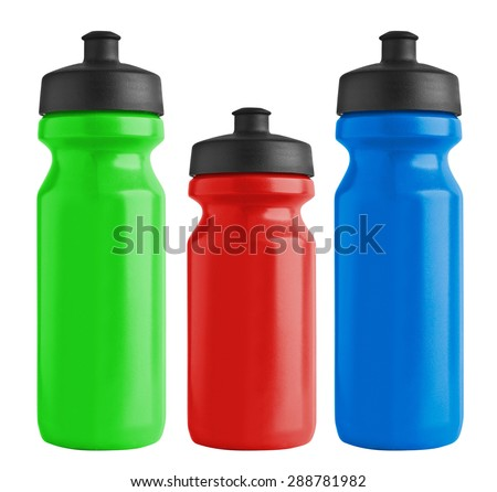 Set of blank bicycle plastic bottles for water - stock photo