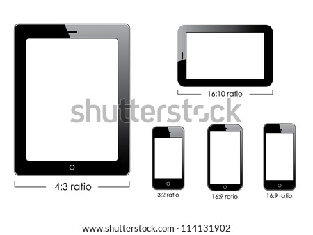Set of blank generic tablet pc and smartphones. - stock photo