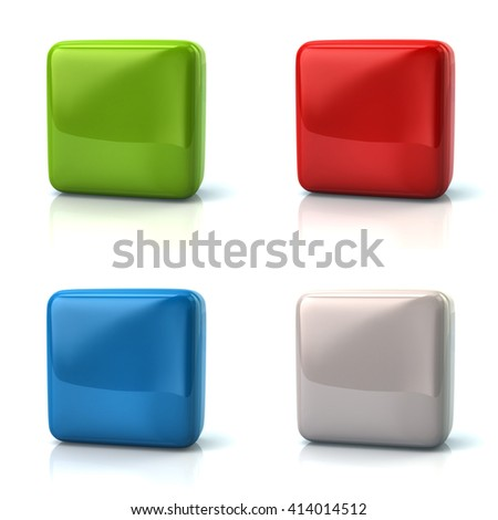 Set of blank green, red, blue and white square buttons isolated on white background
