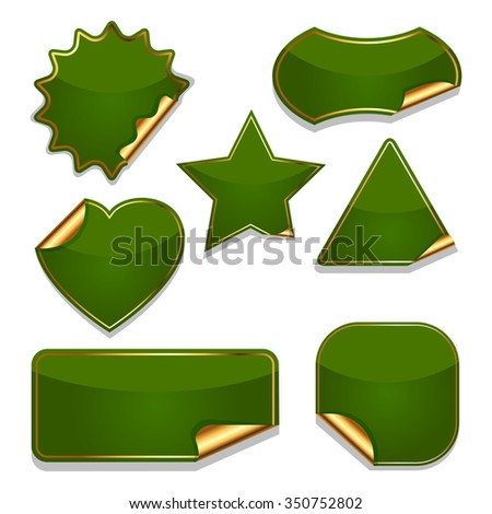 Set of blank green stickers isolated on white background. - stock photo