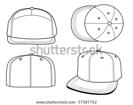 Set of 4 blank hats that can be used as mockups or templates. You can place your design and personalize those hats. - stock photo