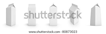 Set of blank milk or juice cartons - stock photo