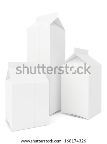 set of blank milk packs isolated on white background. 3d render - stock photo