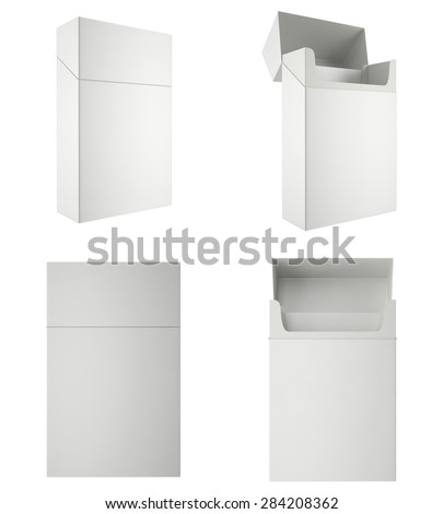 Set of blank packs of cigarettes isolated on white background. 3d illustration high resolution. - stock photo
