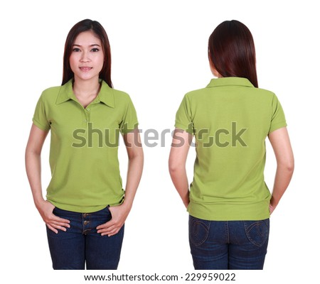 set of blank polo shirt (front, back) on woman isolated on white background