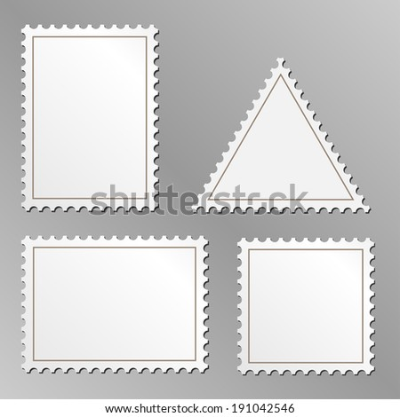 Set of blank postage stamps isolated on grey background.