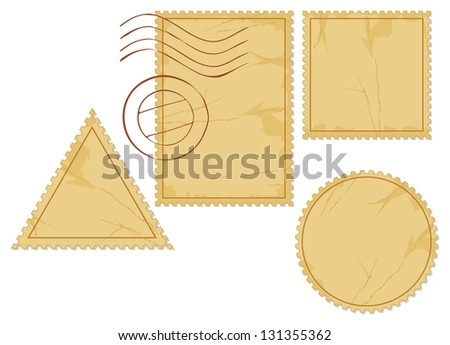 set of blank postage stamps (old post stamp set, postage stamp icons) - stock photo