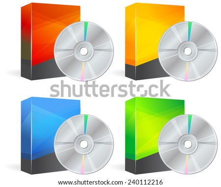 Set of Blank Product Box with Media CD - Illustration - stock photo