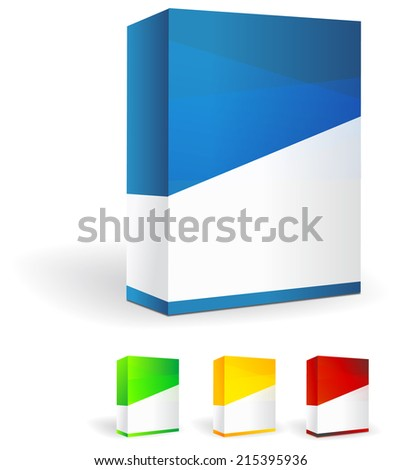 Set of Blank Product Boxes - Illustration - stock photo