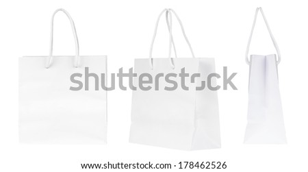 Set of blank shopping paper bags - stock photo
