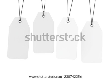 Set of Blank Tags on a white background
