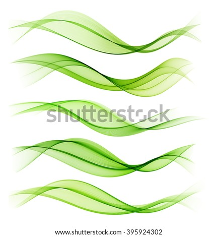 Set of blend abstract wave. wavy smoke lines. Green color - stock photo