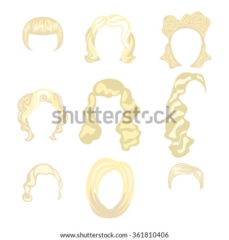 Set of  blond hair styling blonde hairstyles - stock photo