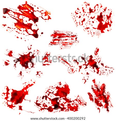 Set of bloodstain isolated on white background - stock photo