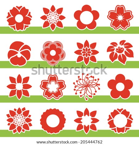 set of blooming flowers - symbol, icon of flower - stock photo