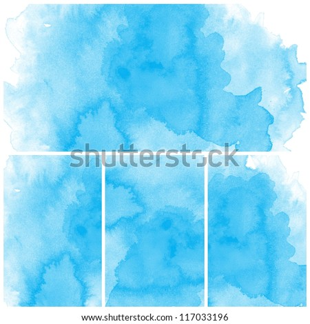 Set of blue Abstract water color art hand paint background