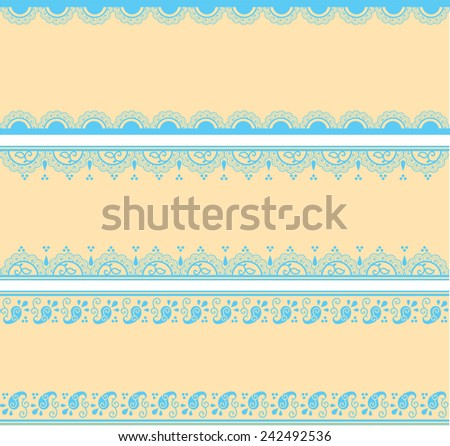 Set of blue and cream traditional Indian henna pattern horizontal banners with space for text