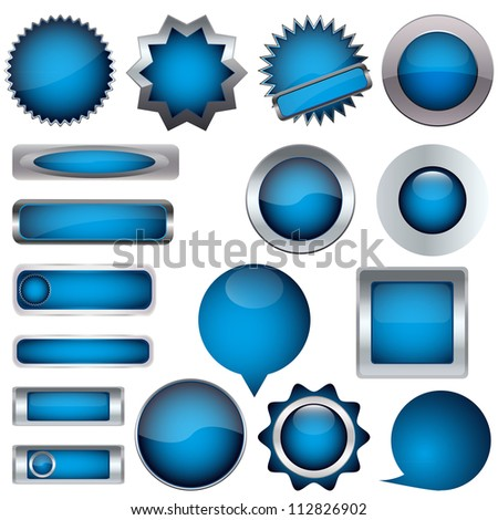 set of blue buttons