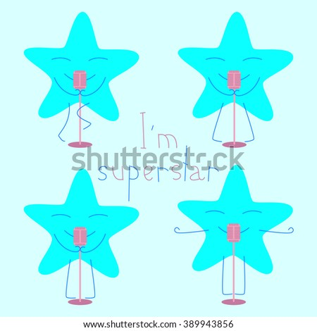 Set of blue colored star with closed eyes and smile with retro microphone and lettering I'm superstar isolated on light blue background. Logo template, design element - stock photo